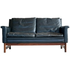 Love Seat in Black Leather and Rosewood by Scapa of Sweden