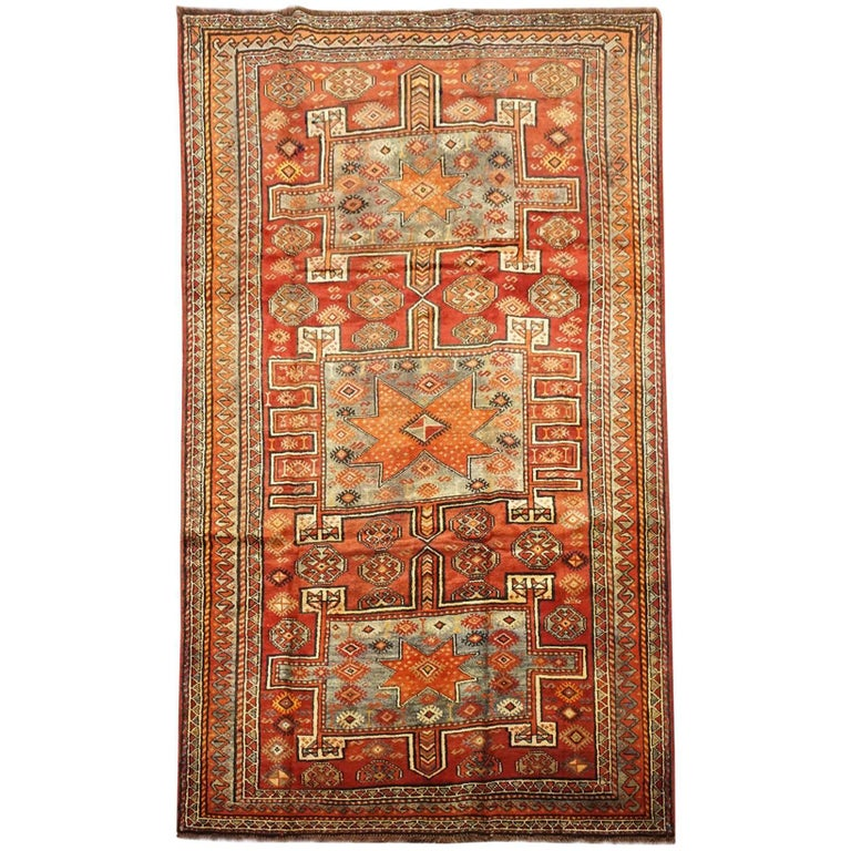 Antique Cotton Agra Rug With Abrash Circa 1900 For Sale: Persian Antique Kurdish Tribal Rug With Abrash, Circa 1900