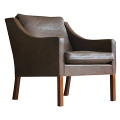 Børge Mogensen Lounge Chair Model 2207 Down Filled Medium Brown Topgrain Leather