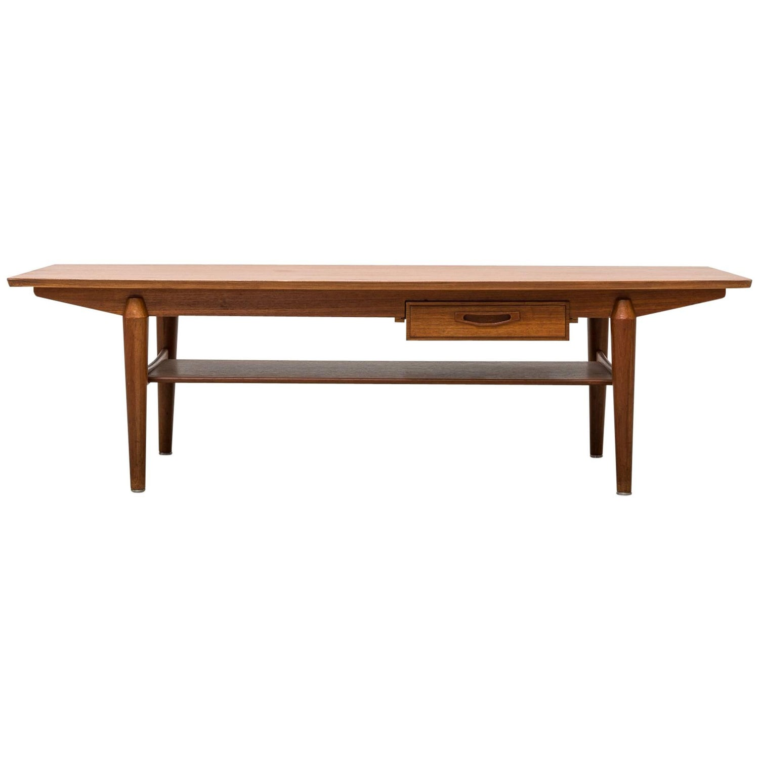 Mid Century Teak Coffee Table with Storage Drawer For Sale at 1stdibs