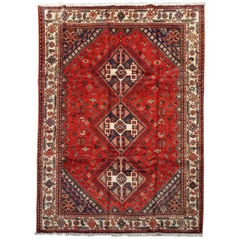"Semi-Antique Shiraz Oriental Rug, 8'x5'3"", Circa 1960 At"