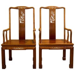 Pair of Elegant Asian Armchairs with Mother-of-Pearl Inlay