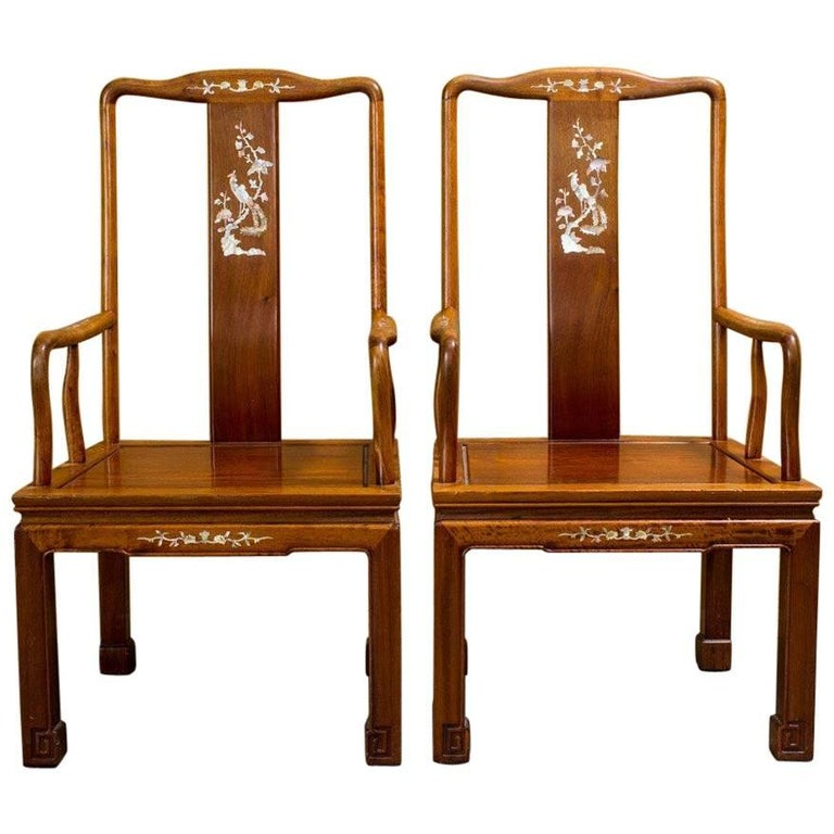 Pair of Elegant Asian Armchairs with Mother-of-Pearl Inlay For Sale