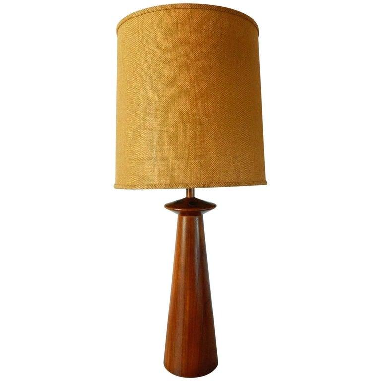 Mid-Century Modern Walnut Lamp with Martz Ceramic Tiles