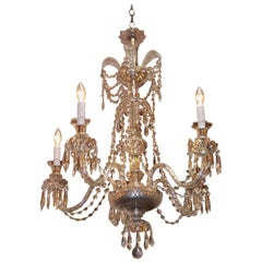 Anglo-Irish Cut Crystal Decorative Feather Five-Arm Chandelier, Circa 1840