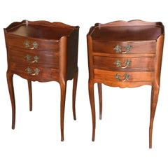 Handsome Pair of French Louis XV Style Cherry Night Tables