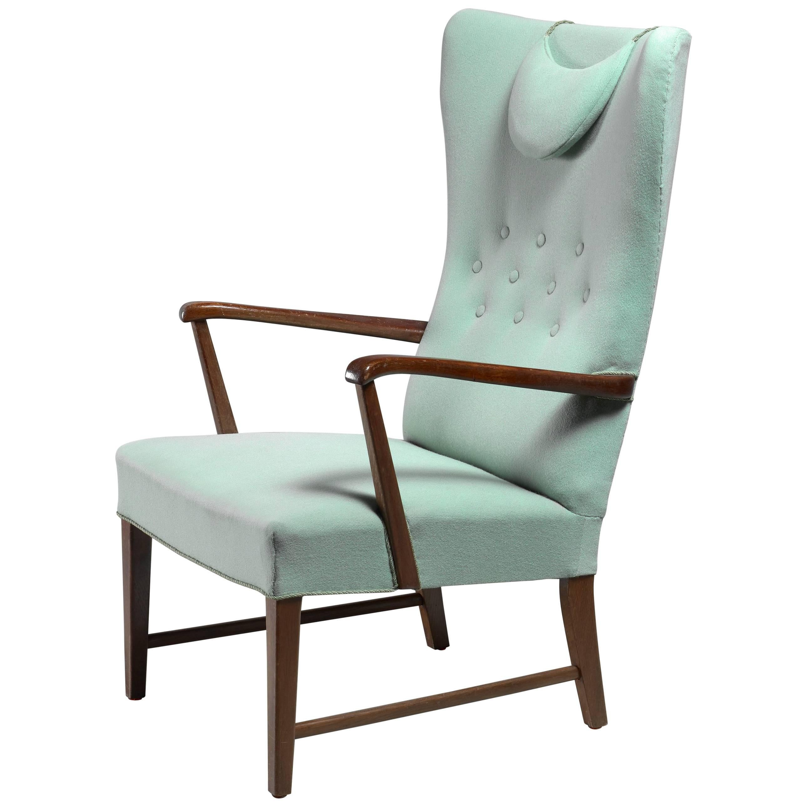 Danish High Back Lounge Chair with Mint Green Wool Upholstery, 1940s