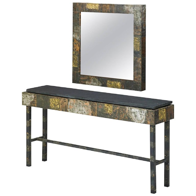 Paul Evans Custom Patchwork Console Table and Mirror