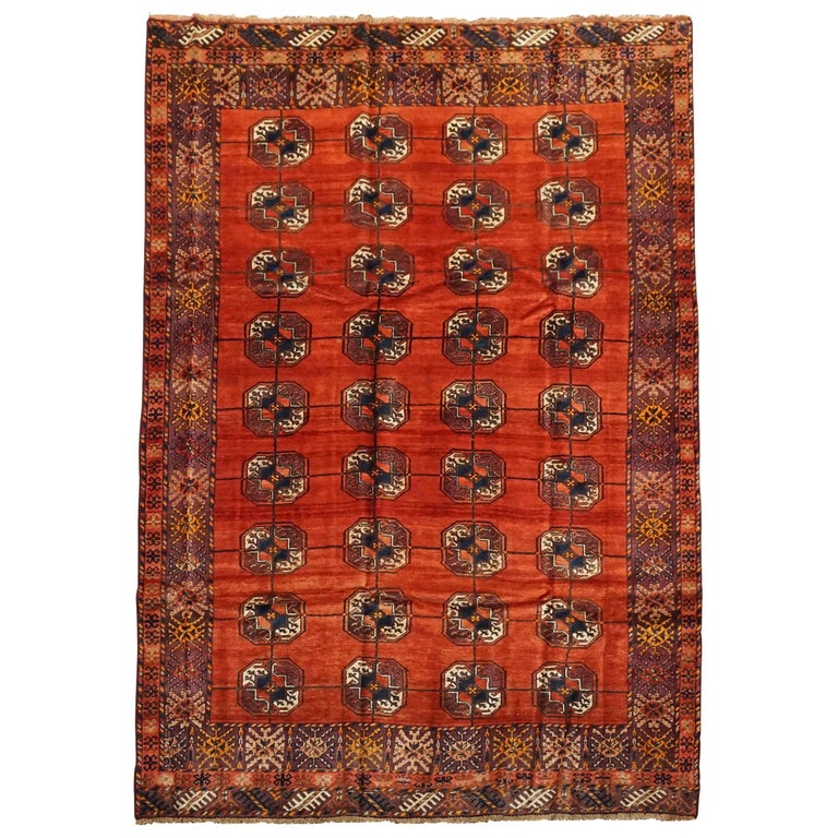 Antique Cotton Agra Rug With Abrash Circa 1900 For Sale: Persian Turkoman Tekke Rug With Abrash, Circa 1900 At 1stdibs