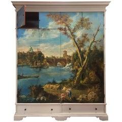 LAST SALE Venetian Huge Painted Coppelli Italian Wardrobe Armoire