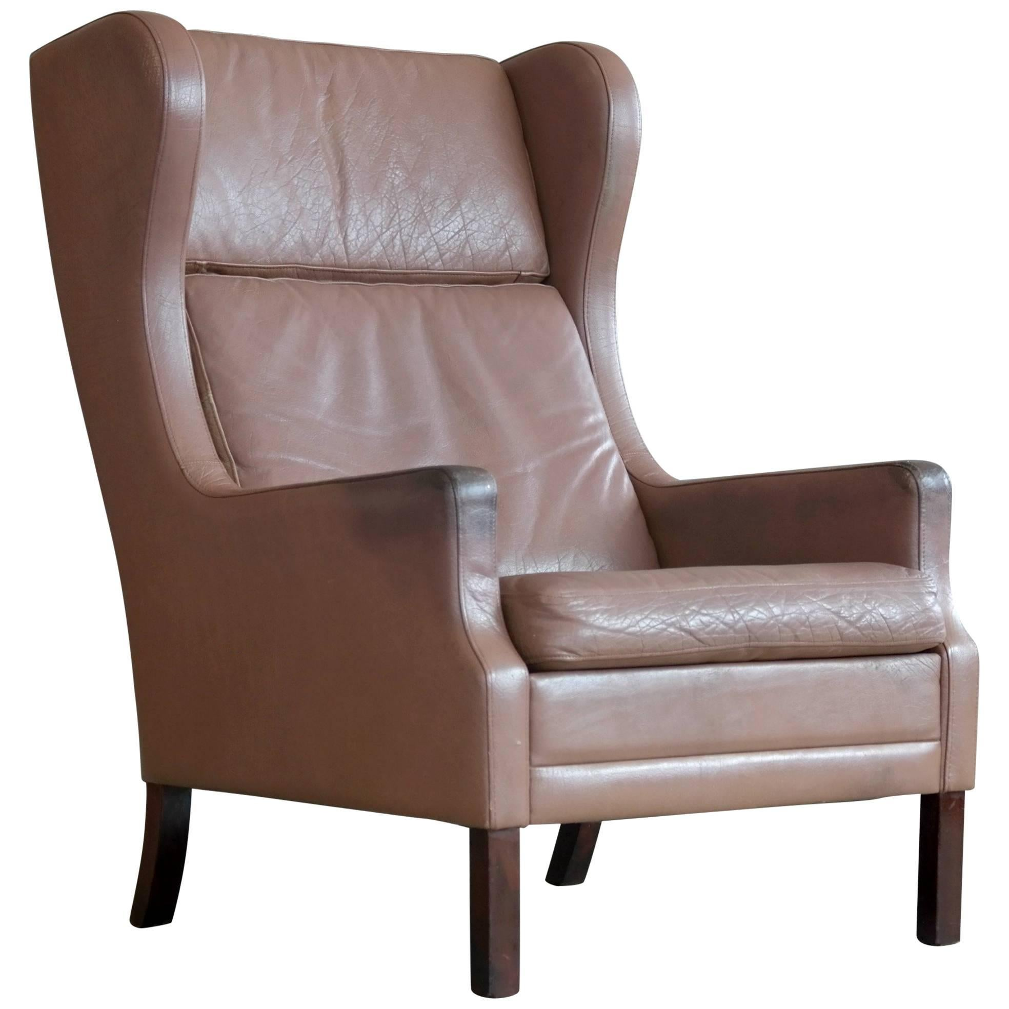 Georg Thams Wingback Chair in Cappuccino Colored Leather Borge Mogensen Style