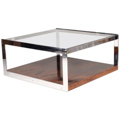 Merrow Chrome and Rosewood Cocktail Table by Richard Young