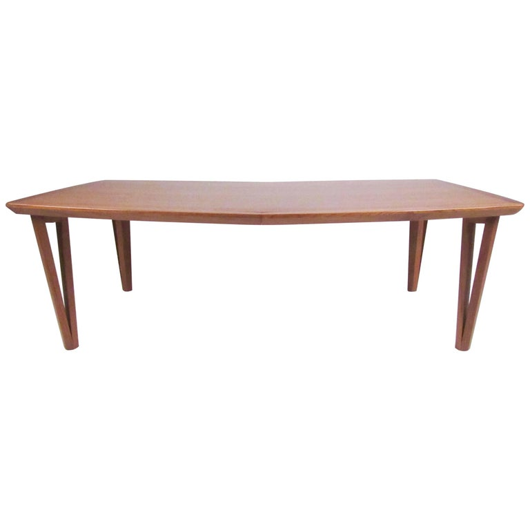 Scandinavian Modern Teak Coffee Table with Hairpin Legs