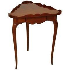 Traditional One Drawer Cherry Triangle Side Table by Theodore Alexander