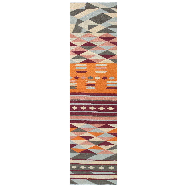 Swedish Scandinavian Inspired Modern Kilim Runner Rug. Size: 3 ft x 11 ft 10 in