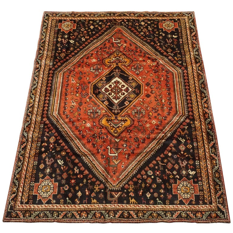 Antique Cotton Agra Rug With Abrash Circa 1900 For Sale: Nomadic Persian Shiraz Rug With Animal Motif, Circa 1900