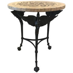Round Lacquer and Ostrich Mosaic Topped Maitland Smith Swan Table