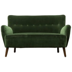 Gorgeous Artifort Emerald Green Velvet Sofa by Theo Ruth