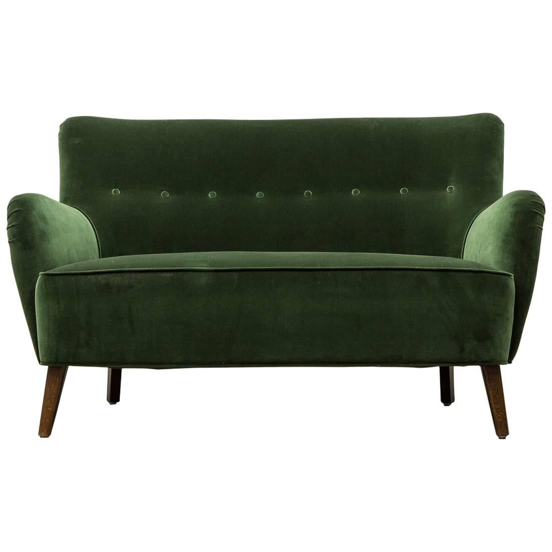 Gorgeous Artifort Emerald Green Velvet Sofa By Theo Ruth 1