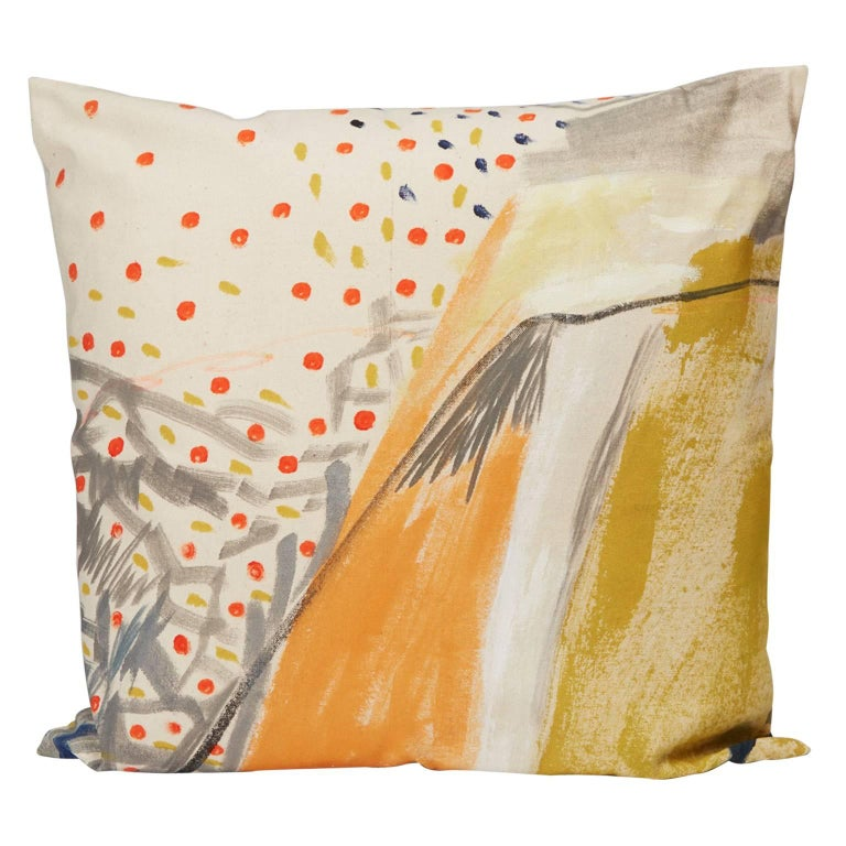 Multicolored Hand-Painted Canvas Square Pillow For Sale