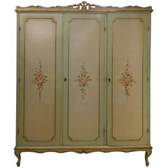 Italian Three Doors Floral Armoire Carved Wood