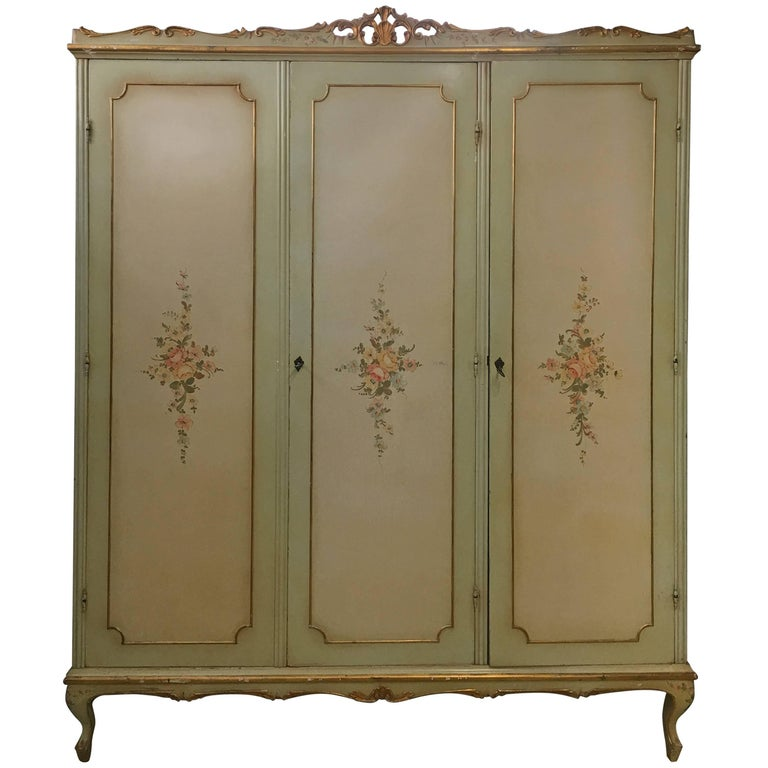 Italian Three Doors Floral Armoire Carved Wood For Sale At