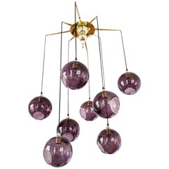 Flash Your Lamps, Brass and Colorful Glass Chandelier