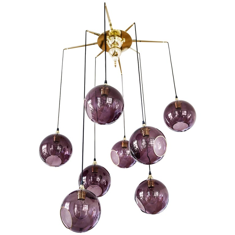 Flash Your Lamps, Brass and Colorful Glass Chandelier For Sale