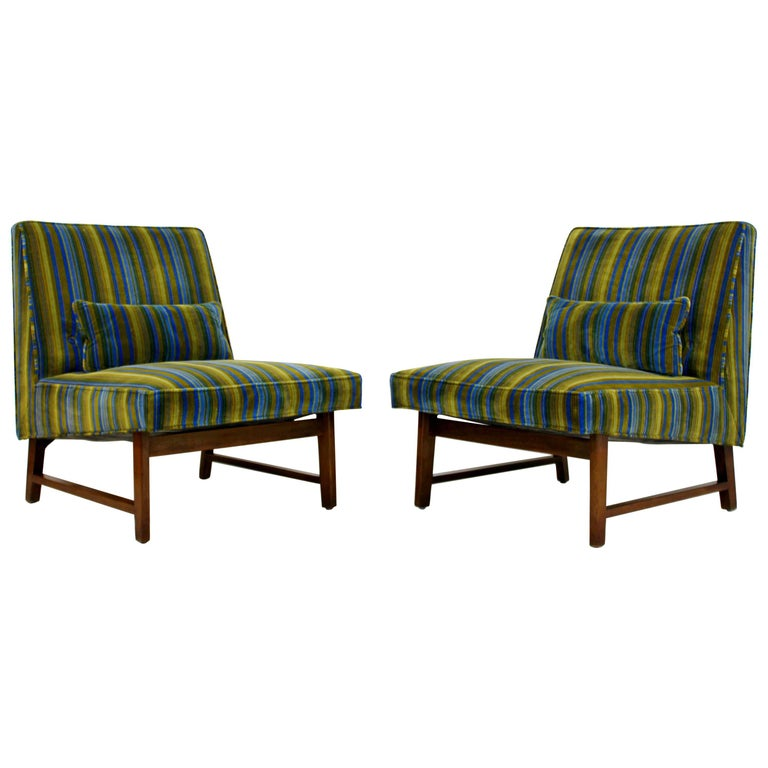 Mid-Century Modern Pair of Wormley for Dunbar Slipper Chairs Lenor Larsen Fabric
