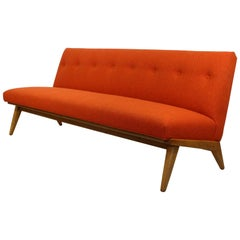 Mid-Century Modern Rare Jens Risom for Knoll Tufted Orange Fabric Sofa, 1950s