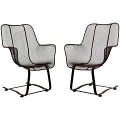 Mid-Century Modern Woodard Sculptura Pair of Brown Outdoor Rocker Chairs, 1970s