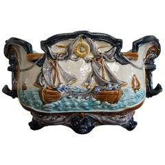 Antique Majolica Glazed Jardinière Planter with Maritime / Sea Fishing Decor