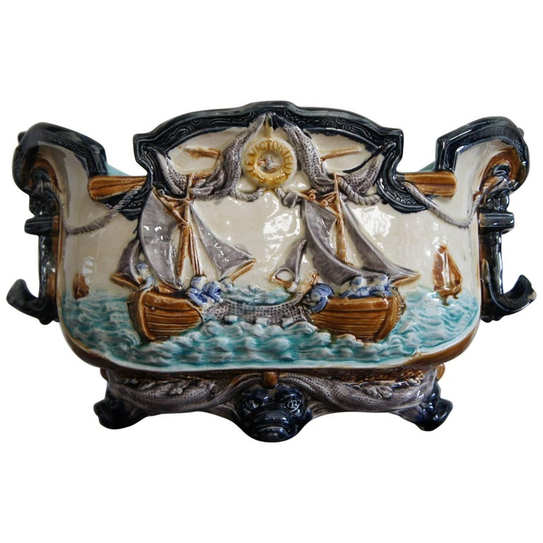 Antique majolica glazed jardini re planter with maritime for Jardiniere decorative