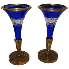 Pair of Austrian Gilt Doré Bronze-Mounted Cobalt Cut Crystal Ormolu Vases