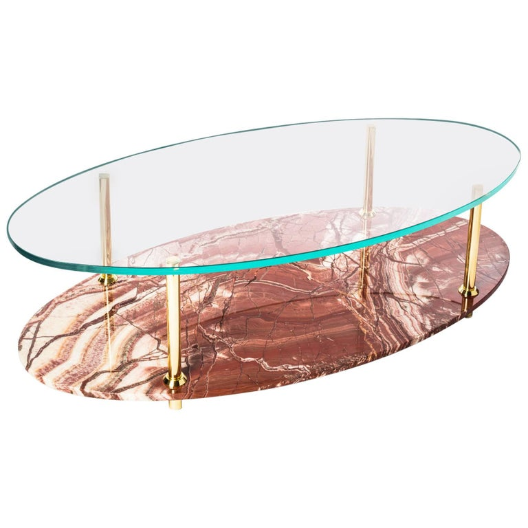 21st Century Custom Contemporary Italian Marble Solid Brass & Glass Coffee Table