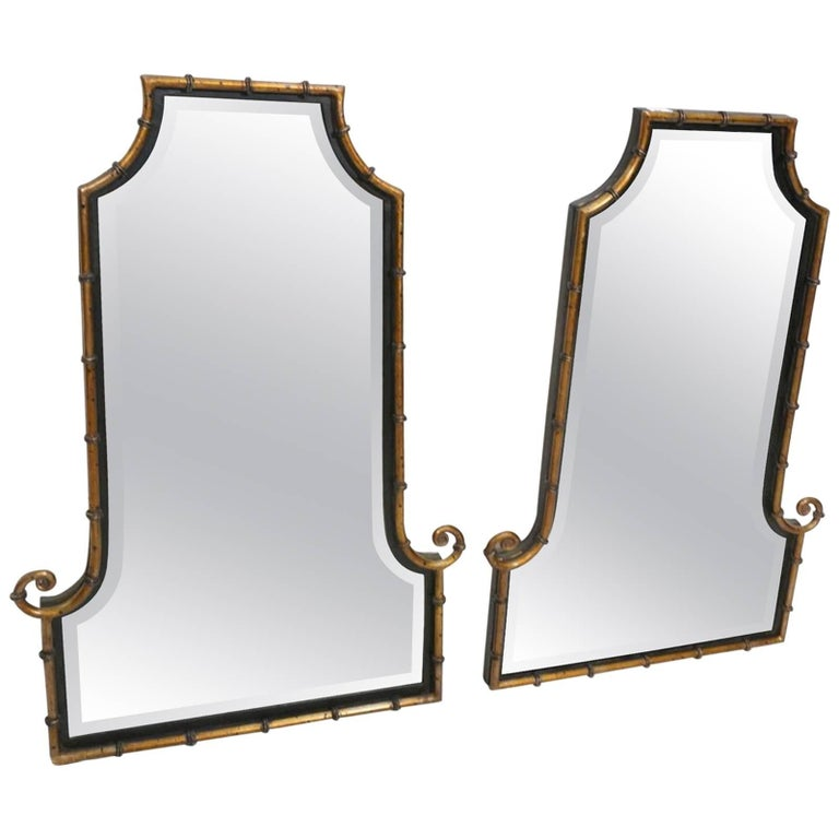 Pair of Hollywood Regency Style Faux Bamboo Decorator Metal Wall Mirrors