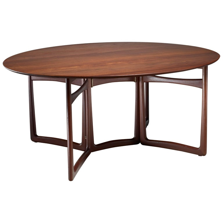 Peter Hvidt Drop-Leaf Desk or Dining Table in Teak and Brass, Denmark, 1960s