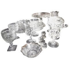 Group of Pressed Glass Serving Pieces