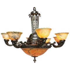 French Early 20th Century Art-Deco Silvered Bronze and Alabaster Chandelier