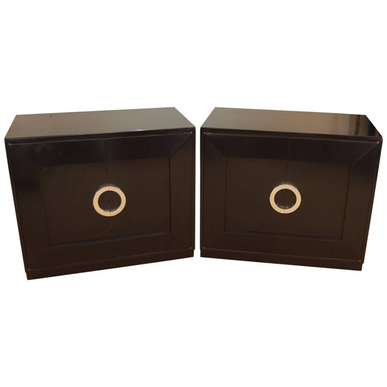 Pair of Black Lacquer Chests with Silver Leaf Handles
