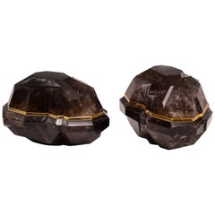 Pair of Fine Carved faceted  Dark Rock Crystal Boxes with Covers