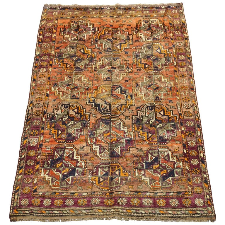 Antique Cotton Agra Rug With Abrash Circa 1900 For Sale: Antique Persian Tribal Bukhara Turkoman Rug With Abrash