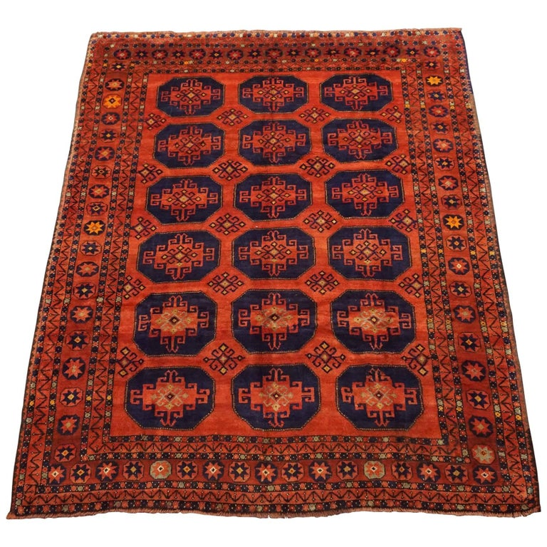 Antique Cotton Agra Rug With Abrash Circa 1900 For Sale: Tribal Persian Turkoman Area Rug, Circa 1900 For Sale At
