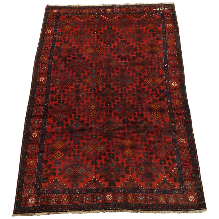 Antique Cotton Agra Rug With Abrash Circa 1900 For Sale: Signed Kurdish Tribal Area Rug, Circa 1900 For Sale At 1stdibs