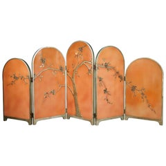 Peach Art Deco Carved Relief Floral Chinoiserie Folding Screen, circa 1920