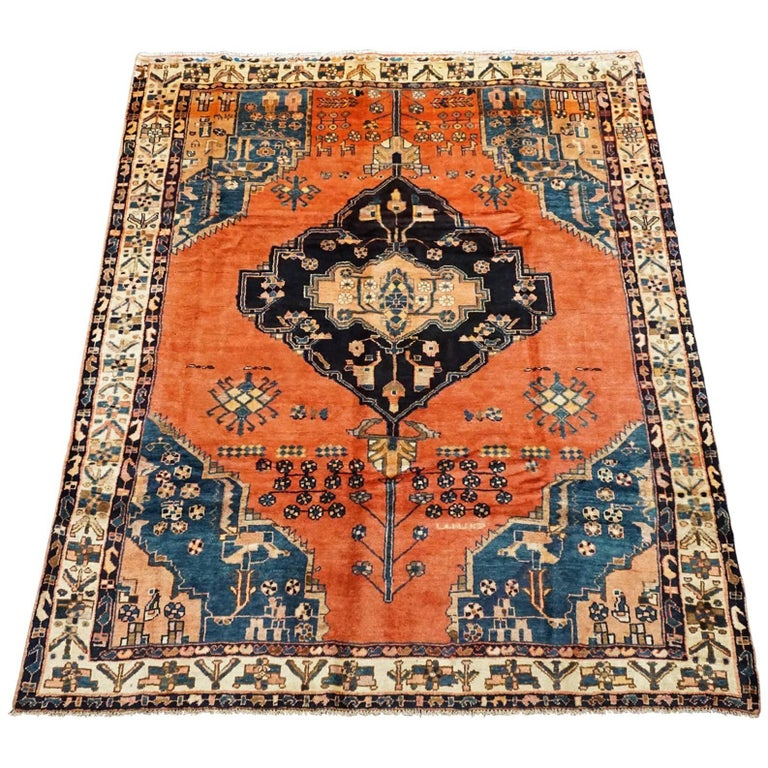 Antique Cotton Agra Rug With Abrash Circa 1900 For Sale: Signed Kurdish Serapi Area Rug With Abrash And Animal