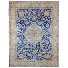 Antique Persian Mashad Rug in Gold and Royal Blue