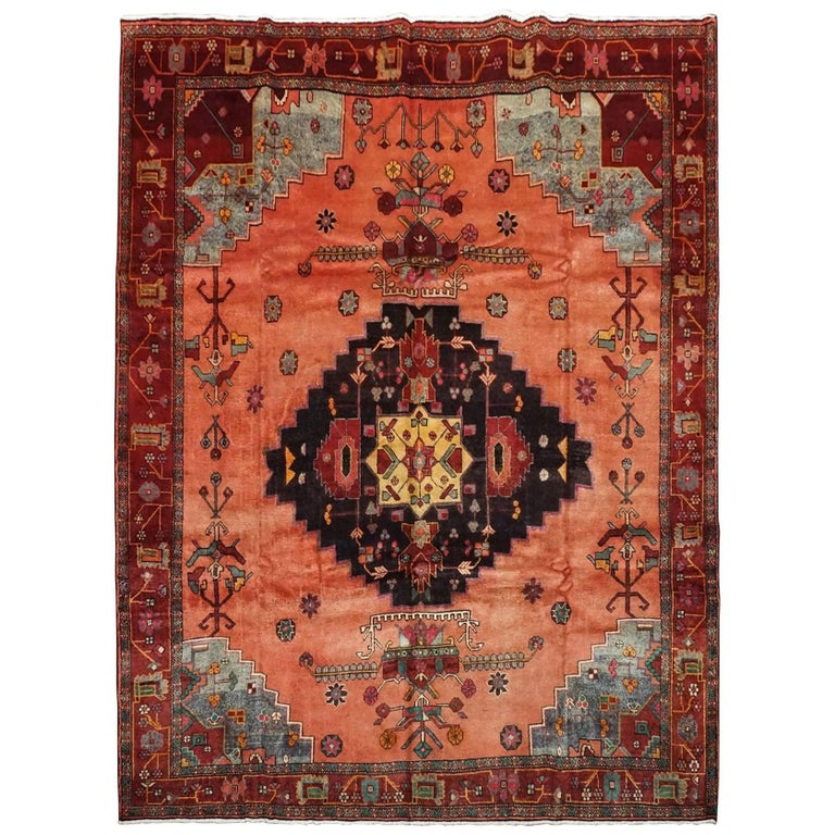 Antique Cotton Agra Rug With Abrash Circa 1900 For Sale: Kurdish Serapi Rug With Abrash, Circa 1900 For Sale At 1stdibs