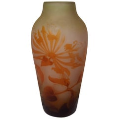 Art Nouveau Emile Galle Cameo Vase with Honeysuckle Signed, circa 1900