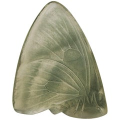 Art Nouveau Original Green Stained Rene Lalique 'Papillon Ailes Fermes' Cachet